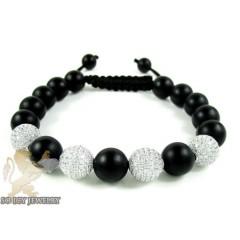 White Cz Black Matte Macramé Bead Rope Bracelet 6.00ct