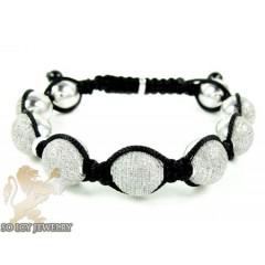 White Sterling Silver Diamond Macramé Bead Rope Bracelet 5.00ct