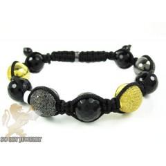Canary & Black Diamond Macramé Faceted Bead Rope Bracelet 2.25ct