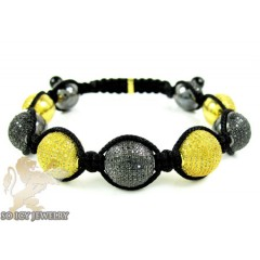 Yellow & Black Sterling Silver Diamond Macramé Bead Rope Bracelet 5.00ct