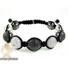 White & Black Sterling Silver Diamond Macramé Bead Rope Bracelet 5.00ct