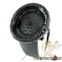 Black cz techno com kc digital big bezel watch 10.00ct