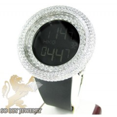 White cz techno com kc digital big bezel watch 10.00ct