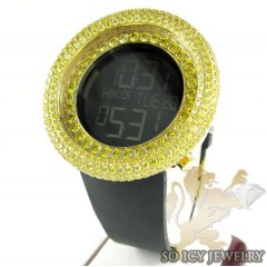Yellow Cz Techno Com Kc Digital Big Bezel Watch 10.00ct