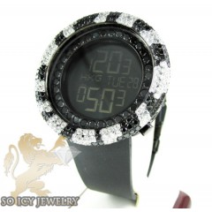 Black & white cz techno com kc digital full case big bezel watch 13.00ct