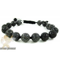 Black Sterling Silver Black Cz Macramé Bead Rope Bracelet 16.00ct