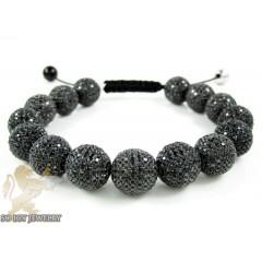 Black Sterling Silver Black Cz Macramé Bead Rope Bracelet 22.50ct