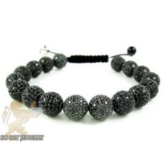 Black Sterling Silver Black Cz Macramé Bead Rope Bracelet 17.00ct