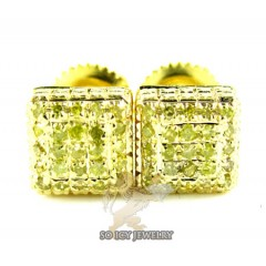 .925 Yellow Sterling Silver Canary Diamond Earrings 0.45ct