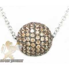 White Sterling Silver Brown Cz Bead Chain 2.00ct