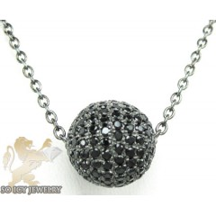 Black Sterling Silver Black Cz Bead Chain 2.00ct