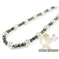 14k Black & White Gold Diamond Cut Bead Chain 20 Inch 2.5mm