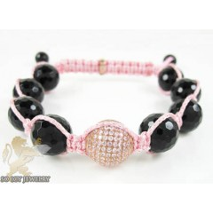 Rose sterling silver pink cz macramé faceted bead rope bracelet 6.75ct