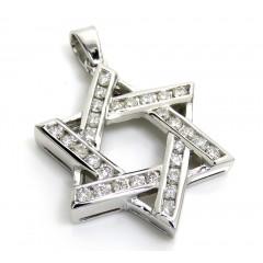 14k White Gold Diamond Star Of David Pendant 1.04ct