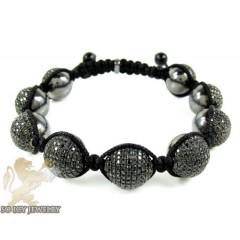 Black Sterling Silver Black Cz Macramé Bead Rope Bracelet 6.75ct