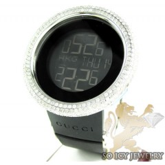 Mens Diamond Igucci Digital Big Bezel White Stainless Steel Watch 12.00ct