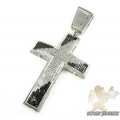 Mens White Sterling Silver Black & White Diamond Cross 1.40ct