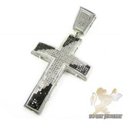 Mens White Sterling Silver Black & White Diamond Cross 1.40ct