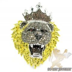 White Sterling Silver Diamond Lion King Ring 4.00ct