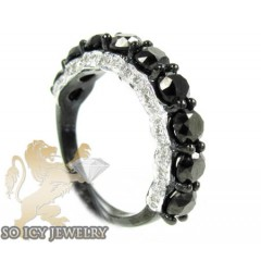 Ladies 10k Black Gold Black & White Diamond Wedding Band 3.43ct