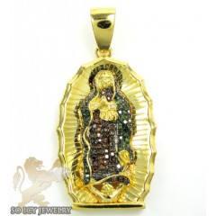 Yellow Sterling Silver Red & Green Diamond Jesus Pendant 0.50ct