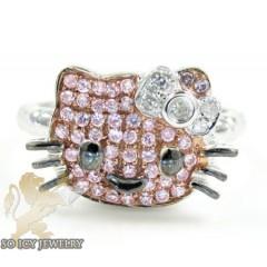 Ladies 10k White Gold Hello Kitty Diamond Ring 0.25ct