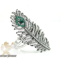 Ladies 14k White Gold Peacock Feather Diamond Ring 1.00ct