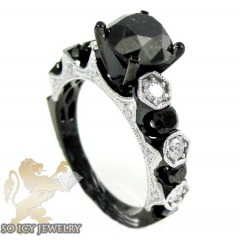 Ladies 10k Black Gold Diamond Engagement Ring 3.41ct