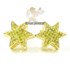 .925 Yellow Sterling Silver Canary Diamond Star Earrings 0.35ct