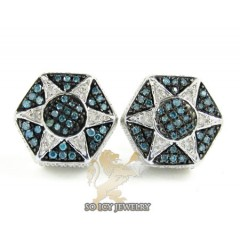 .925 White Sterling Silver White & Blue Diamond Earrings 0.45ct