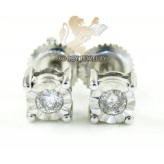 .925 White Sterling Silver Diamond Studs 0.20ct