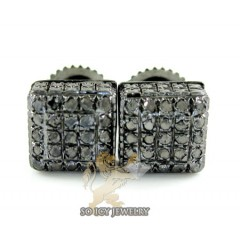 .925 black sterling silver diamond 3d ice cube earrings 0.35ct