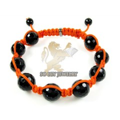Macramé Black Onyx Faceted Bead Orange Rope Bracelet