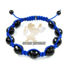 Macramé Black Onyx Faceted Bead Blue Rope Bracelet