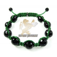 Macramé Black Onyx Faceted Bead Green Rope Bracelet