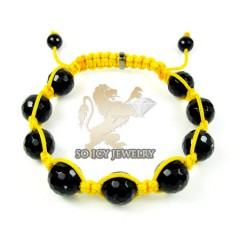 Macramé Black Onyx Faceted Bead Yellow Rope Bracelet