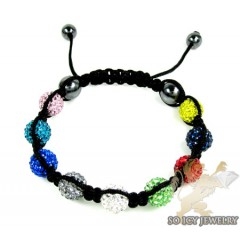 Multi Colored Rhinestone Macramé Bead Rope Bracelet 9.00ct