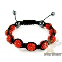 Red Rhinestone Macramé Bead Rope Bracelet 9.00ct
