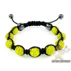 Canary Rhinestone Macramé Bead Rope Bracelet 9.00ct