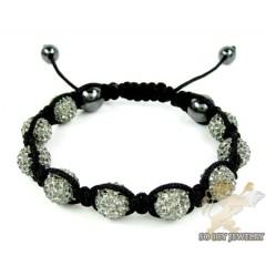 Gray Rhinestone Macramé Bead Rope Bracelet 9.00ct