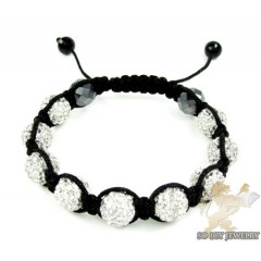 White Rhinestone Macramé Bead Rope Bracelet 9.00ct