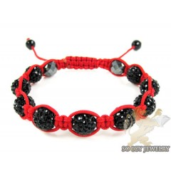 Black Rhinestone Macramé Red Bead Rope Bracelet 9.00ct
