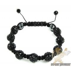 Black Rhinestone Macramé Bead Rope Bracelet 9.00ct