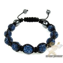 Blue Rhinestone Macramé Bead Rope Bracelet 9.00ct
