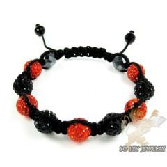 Red & Black Rhinestone Macramé Bead Rope Bracelet 9.00ct