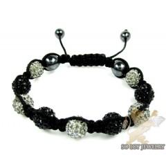 Gray & Black Rhinestone Macramé Bead Rope Bracelet 9.00ct