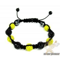 Black & Canary Rhinestone Macramé Bead Rope Bracelet 9.00ct