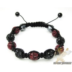 Burgundy Red & Black Rhinestone Macramé Bead Rope Bracelet 9.00ct
