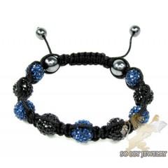Blue & Black Rhinestone Macramé Bead Rope Bracelet 9.00ct