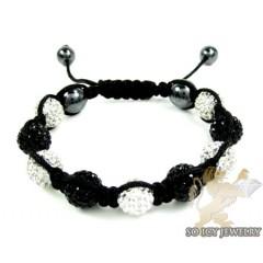 White & Black Rhinestone Macramé Bead Rope Bracelet 9.00ct